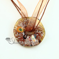 brillo foil ronda murano cristal de murano millefiori colgantes collares venecianas china barato joyas de moda