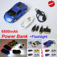 Power Bank batteries stations - 6800mAh External Power Bank Station Charger Mini Car Style Universal External Battery For cell Phone iPod MP3 MP4 PSP LED flashlight