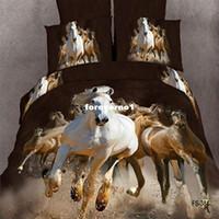 Twill Woven Duvet Cover Set Horse Tiger Lion animal oil printed 4pc bedding set 3D Duvet quilt cover 100% Cotton bedsheets bed linen sets king queen size