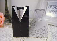 Wholesale 2014 pair groom amp bride black new marriage charm Shower Favor Candy Boxes Wedding Party Gift hold bag