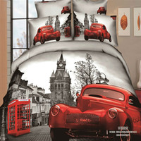 Adult Twill 100% Cotton red Car unique pattern print bedding set Cotton bedclothes pillowcase Duvet Quilt cover bedsheet sets king queen double bed size