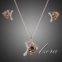 Wholesale Rose Gold Plated Round Shape Swiss Cubic Zirconia Stone Fish Pendant Necklace and Earrings Set Azora TG0047