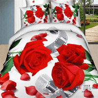 Wholesale The film and red Rose pc bedding set queen full size comforter quilts duvet cover bed sheets linens cotton fabric for wedding