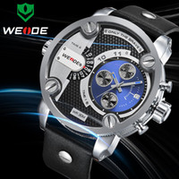Men's Round 26 WEIDE 2014 new Japan quartz movement relogio battery men sports watches leather strap military watch fine quality hours clock!!