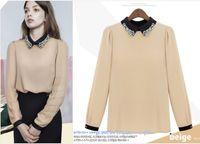 Cheap Wholesale - European and American fashion women's clothing sweet lapel long sleeve quality chiffon unlined upper garment