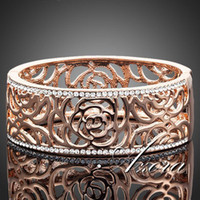 Wholesale 18K Rose Gold Plated SWA ELEMENTS Gorgeous Austrian Crystal Paved Cuff Arabesquit Bangle Bracelet Azora TB0002