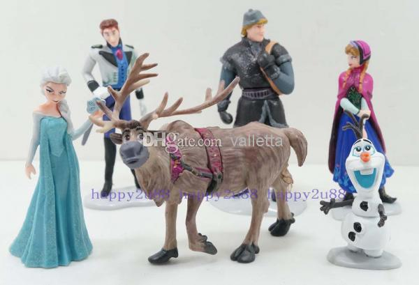 6pcs cartoon frozen figure play doll anna elsa hans kristoff sven olaf