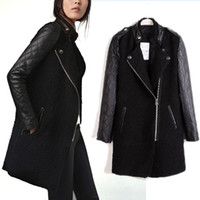 Wholesale 2014 Women Winter Long Sleeve Leather Patchwork Wool amp Blends Zippper Basic Jacket Coat