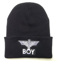 Cotton beanie suppliers - 2014 Hot Selling BOY London eagle man Beanies men women knitted caps hip hop brands man street hat freeshipping Hats amp Caps Supplier