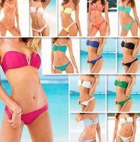 Polyester american chest - 2014 New Bikini Metal Deep V Gather Swimwear with a chest pad European and American Style Beachwear set