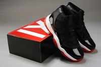 Wholesale Top Quality Famous Trainers Retro XI Bred Men s Sports Basketball Shoes black varsity red