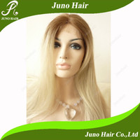 Wholesale Hot Selling Synthetic Colorful Silk Straight Ombre Blonde Lace Front Wig s007 Juno Hair