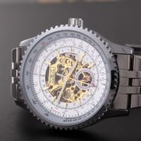 Prezzi Orologi jaragar-JARAGAR vendita calda degli uomini orologio automatico meccanico di scheletro fascia d'acciaio multifunzionale Big QUADRANTE NERO