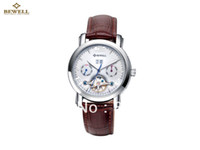 Men's Round 24 Wholesale - BEWELL Watch China free shipping leather strap watches men Christmas gift Automatic mechanical movement clock 2 colors