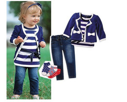 Wholesale jumpsuits New Arrival Girls Blue Coat Stripe Shirt Sweet amp Cute TTT002