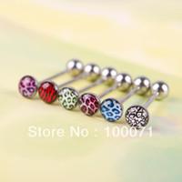 Ear Cuff Stud Earrings Earrings 6Pcs Mixed Color Leopard Print Tongue Lip Ring Bar Stud Body Piercing Jewelry #43955