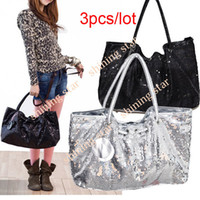 Wholesale 3PCS Womens Handbag Sequin Spangle Decorative Shoulder Tote bags colors Drop shipping