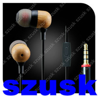 Wood Earphone Wooden Earbuds with Mic Phone Inear Earbud 3. 5...