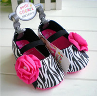 Wholesale New Arrival Kids Shoes Zebra Pattern Rose Baby Shoes Baby Prewalker