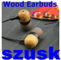 New Wood Earbuds Wooden Earphone with Microphone Phone Inear...
