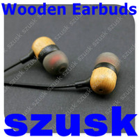Wooden Inear Earbuds 3. 5mm Wood Earphone with Mic New Earpie...