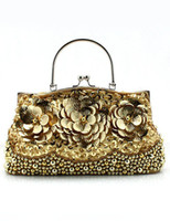 Wholesale Gold Ring Sequin Beading Satin Women s Evening Bag r42 u11 Jtu