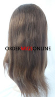8 Indian Hair Wig,Half Wig SILKY STRAIGHT 100% HUMAN HAIR CHEAP FULL LACE WIGS 16INCH COLOR 4# FAST FREE SHIPPING