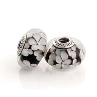 Silver Circle Round promotion 46009 screw thread 925 pure silver charm big murano glass white flower bead use for pandora bracelet&snake chain jewelry