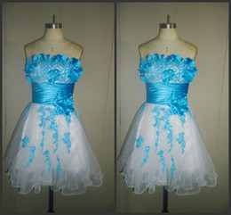 Wholesale 2014 new style organza strapless sleeveless A line in stock bridesmaid dresses cheap plus size short mini dress