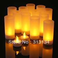 Wholesale 5 PC Romantic Flameless Blow Shake Sound Sensor LED Candle Tea Light Semitransparent Cup LED Candle Light