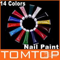 Base coat Gel Clear uv gel 14pcs Wholesale - 14 Color 3D Art Nail Paint Printer Painting Brush Pen UV Gel Acrylic Polish Set Free Shipping, Drops