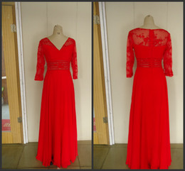 Wholesale 2014 red chiffon long sleeve V neck floor length in stock mother of the bride dresses applique lace back zipper