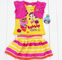 Wholesale 2016 Children s Summer bubble guppies girl girls short sleeve t shirt top tee skirt skirts outfit clothing pieces set suits