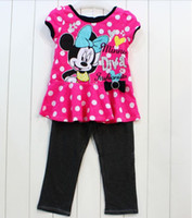 Wholesale 2016 Minnie Mouse kids girl girls short sleeved T SHIRT pink top dark leggings piece suits sets with the dot