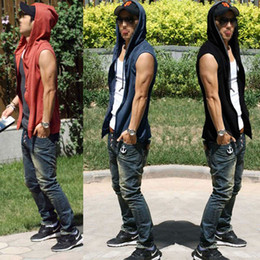Wholesale 2014Men Beach Sport Casual Slim Fit Hoody Sleeveless T shirt Vest Tops M2014