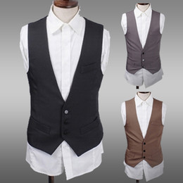 Wholesale Occident Fashion Men Vests Plus Size Slim Suit Single Breasted Vests