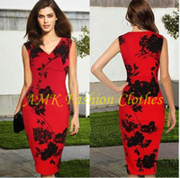 Work Sheath Spring/Autumn Free shipping 2014 New Fashion Elegant Summer V-neck Sleeveless Knee-length Shift Pencil Bodycon Party Cocktail Women Print Plus Size Dress