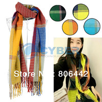 Wholesale Hot Sale Korean Winter Autumn Women s Fashion Plaid Scarf Shawl Tassel Design Knitting Wool Long Scarf