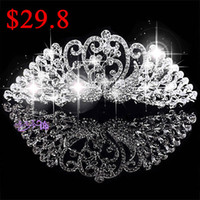 Rhinestone/Crystal pageant crowns - 2014 Luxurious Junoesque Peacock Sparkle Pageant Crowns Rhinestone Plus Size Wedding Bridal Crowns Bridal Jewelry Tiaras amp Hair Accessories