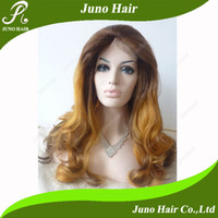 blonde lace front wigs - Cheap Synthetic Lace Front Wig Long Heat Resistant Dark Roots Blonde Hair Body Wave Wigs for Black Women quot quot S041 Juno Hair