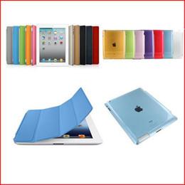 FEDEX DHL Freeship 50 Pair lot PU Leather Magnetic Smart Cover+ Hard Back Case For iPad 2 iPad 3 iPad 4 Multi-Color