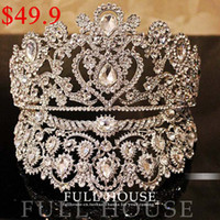 Wholesale 2014 Luxurious Junoesque Hot Sell Sparkle Pageant Crowns Rhinestone Plus Size Wedding Bridal Crowns Bridal Jewelry Tiaras amp Hair Accessories