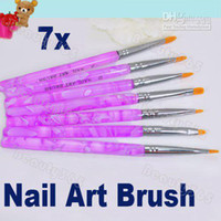 Nail Art Brushes other Plastic Wholesale - 7pcs Flat UV Gel Acrylic Nail Brush Set Art Builder Painting Pen Design Dropshipping 1496