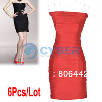 Wholesale 6Pcs Fashion Women s Off Shoulder Dresses Sexy Ladies Slim Tube Top Package Hip Dress Black Rose Red