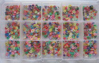 Wholesale box hundreds designs of flowers fruit and bowknot soft polymer clay nail sli