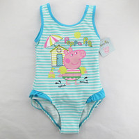 Wholesale new arrival baby PEPPA PIG cute swimwear cotton summer girls cartoon one piece bathing wear