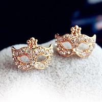 Stud mask earrings - Diamond Stud Earrrings Gold Mask Earrings Rhinestones Flower Mask Earring Gold Stud Earrings PARS