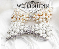Wholesale Hollow Ladies Hair Clips Lovely Big Bowknot Hairpins Simulated Pearl with Crystal Hairpins Hair Jewelry for Girl Women STS018