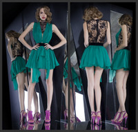 Wholesale 2014 Sexy High Neck Contrast Colour Jade Green Chiffion with Black Lace Illusion Lace Backless Short Mini Cocktail Dresses Party Gowns