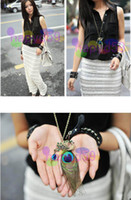 Wholesale 5pcs new Western fashion retro Korea peacock feather sweater chain necklace rhinestone bohemia folk necklace stage performance jewelry